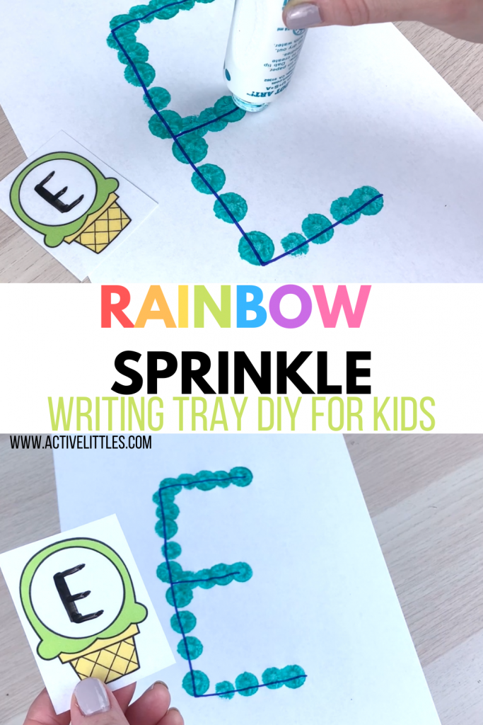 rainbow sprinkle writing tray diy for kids