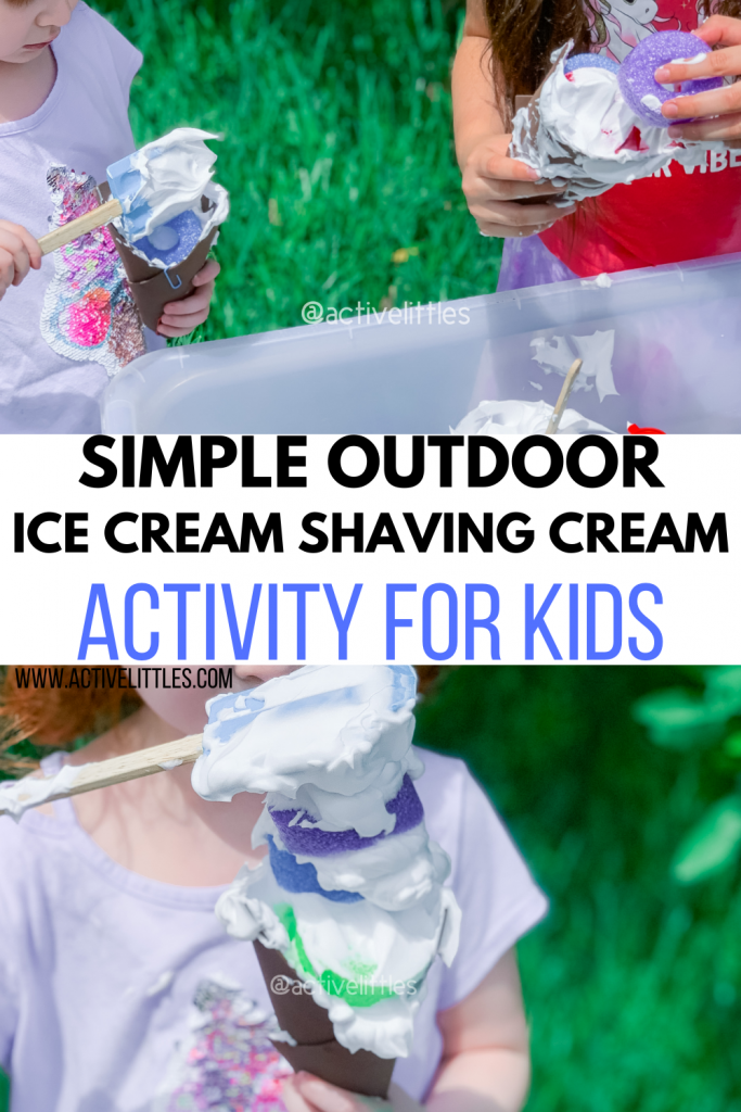 simple outdoor shaving cream activity for kids