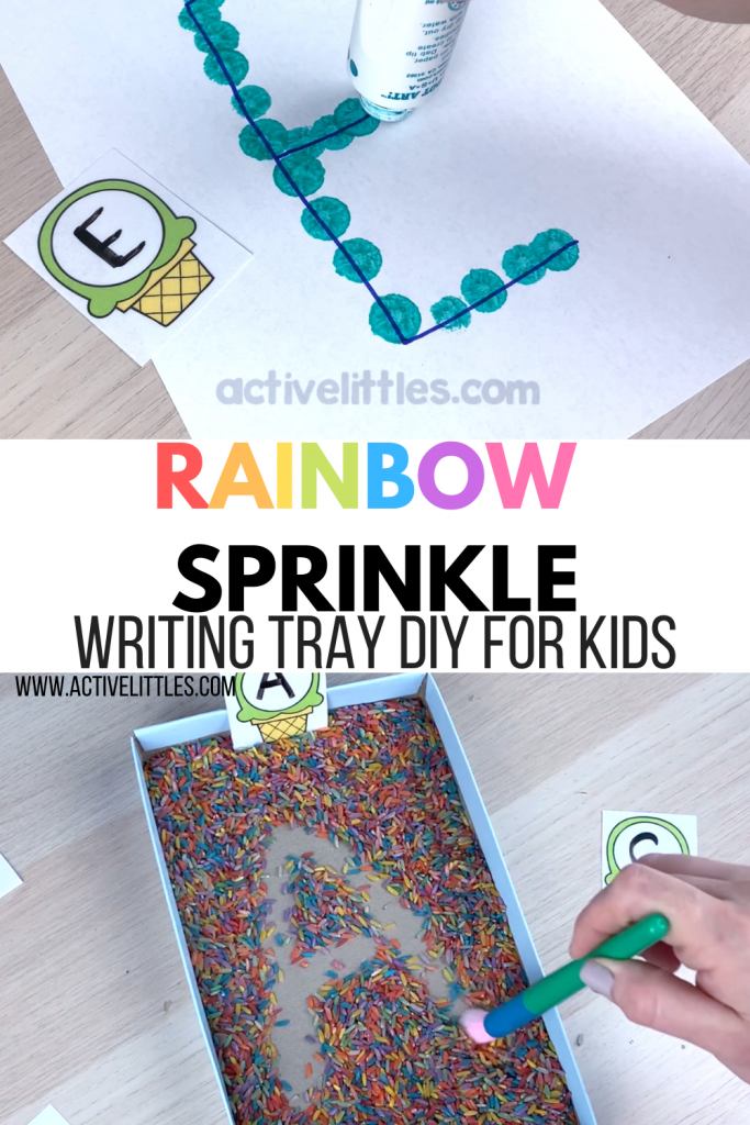 sprinkle letter writing tray for kids