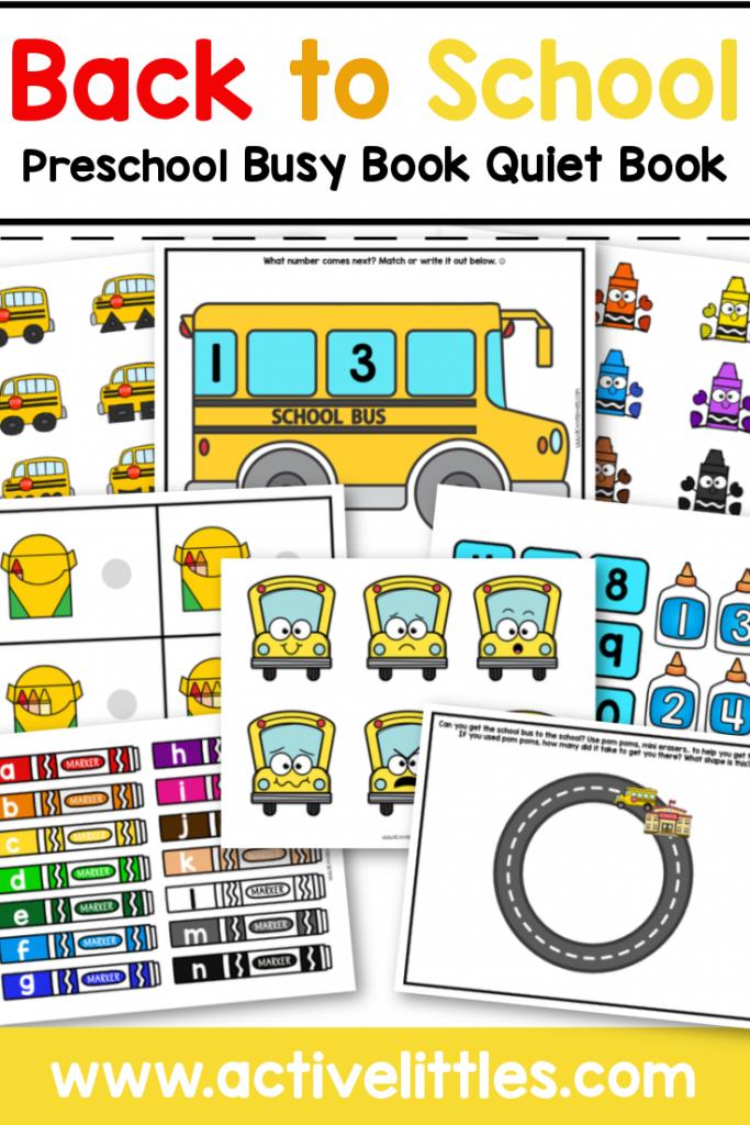 Back to school preschool busy book quiet book printable