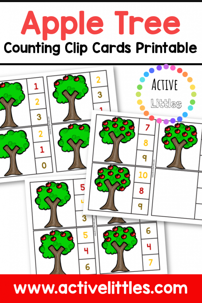 apple tree counting clip cards printable