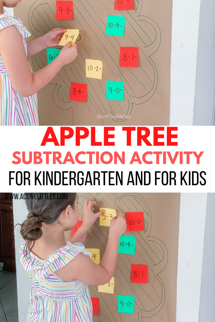 apple tree subtraction activity for kindergarten and for kids