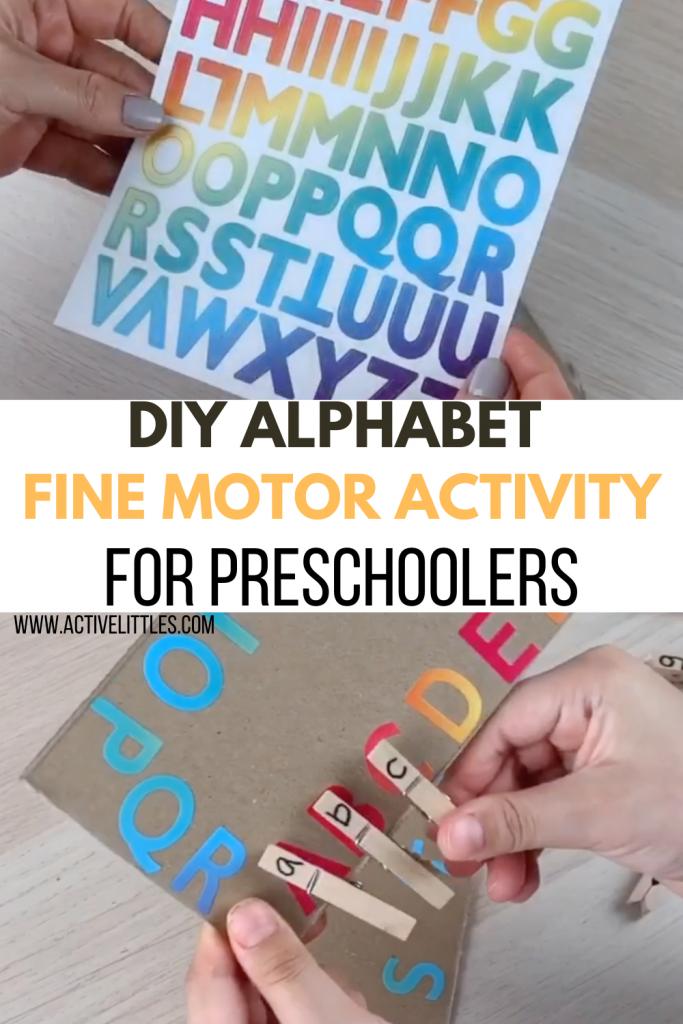 diy alphabet fine motor activity for preschoolers