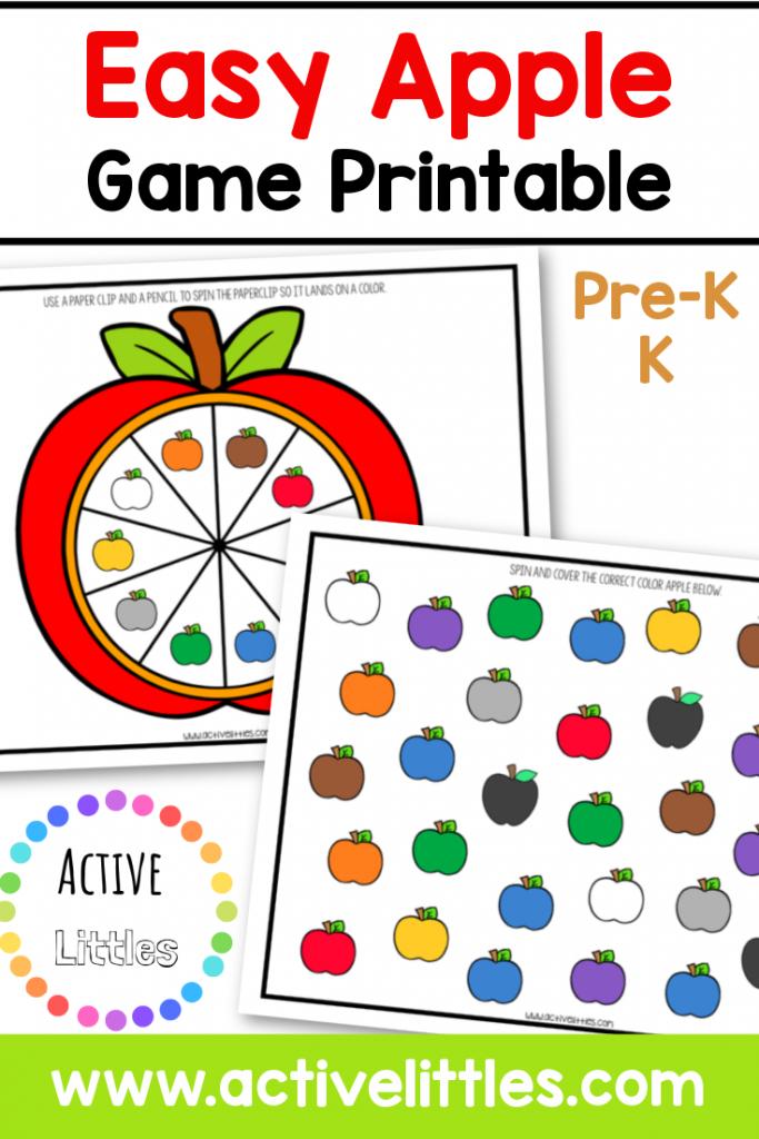 easy apple color game printable