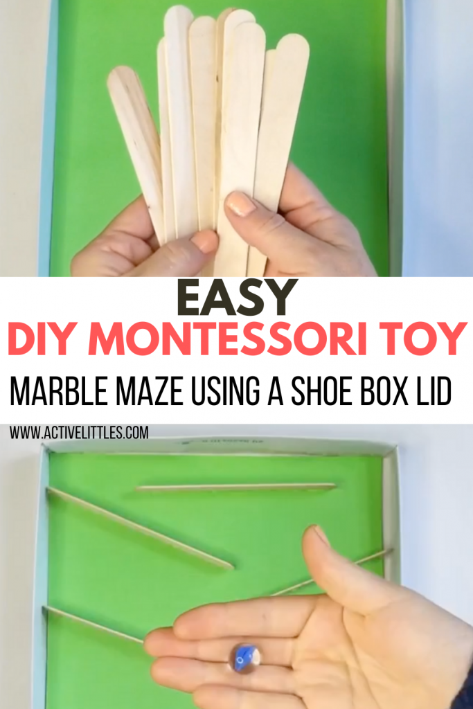 easy diy montessori marble maze using a shoe box