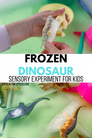 Frozen Dinosaur Sensory Bin Experiment for Kids