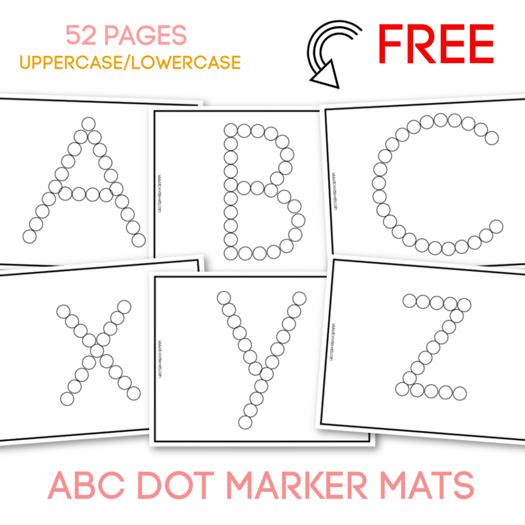 alphabet dot marker mats free printable for toddlers preschool kindergarten
