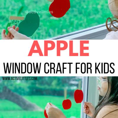 apple foam window craft for kids