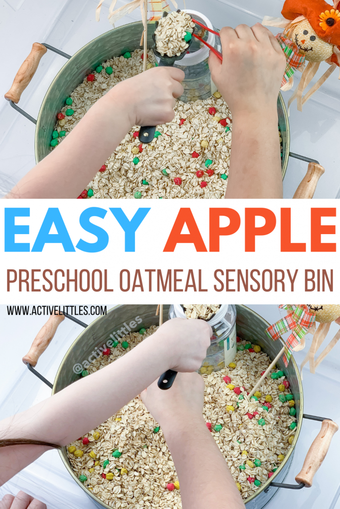 apple oatmeal sensory play