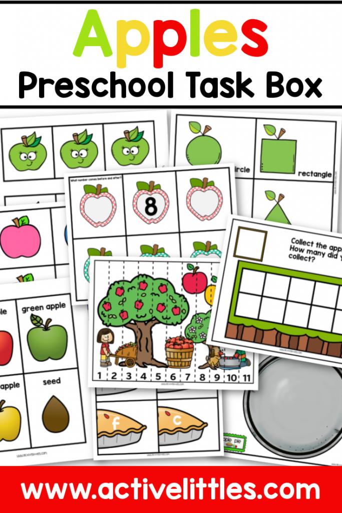 apple preschool task box printable - Active Littles