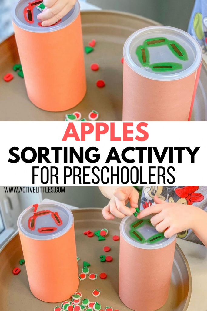 apple sorting activity for preschool