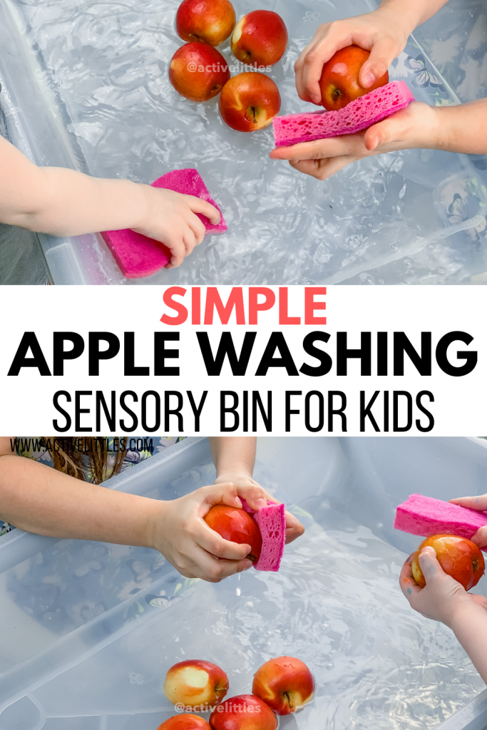 apple washing sensory bin