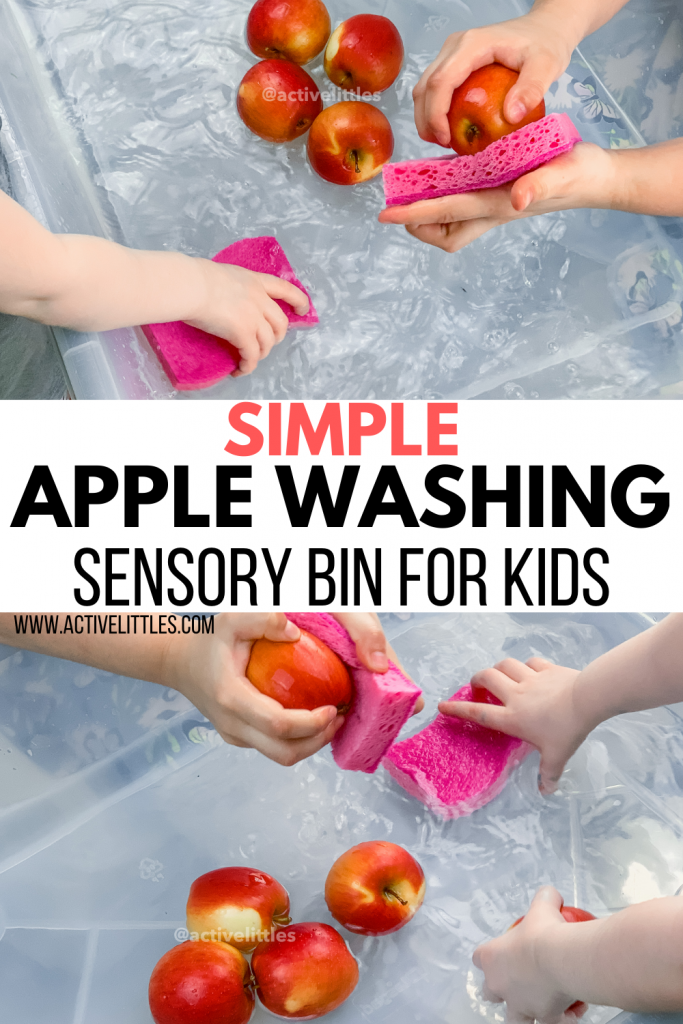 apple washing sensory play
