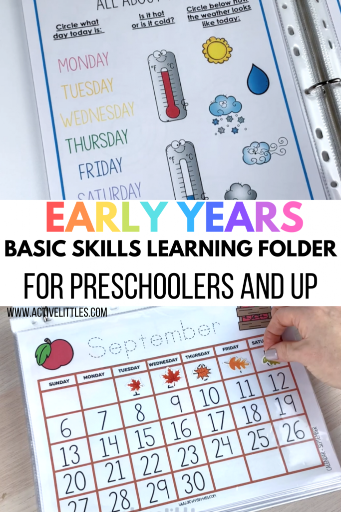 early learning folder game for kids