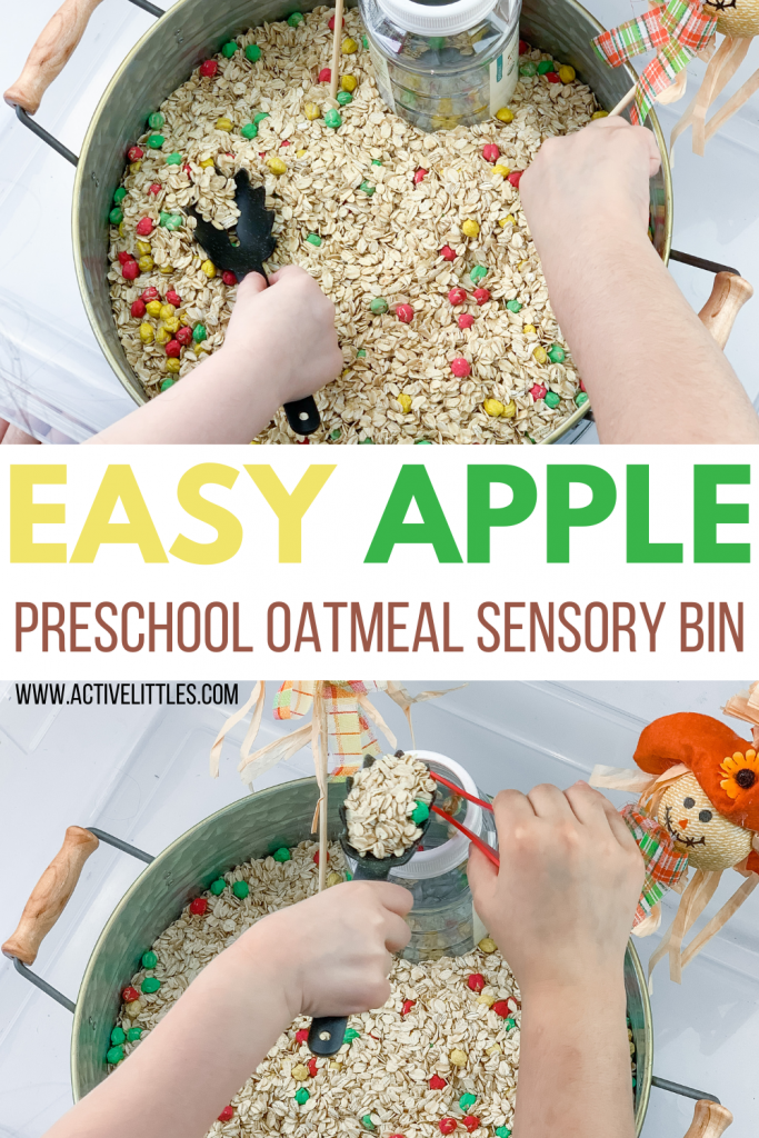 easy oatmeal apple sensory bin