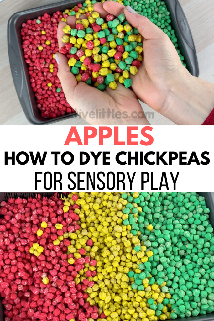 how to dye chickpeas for a sensory bin