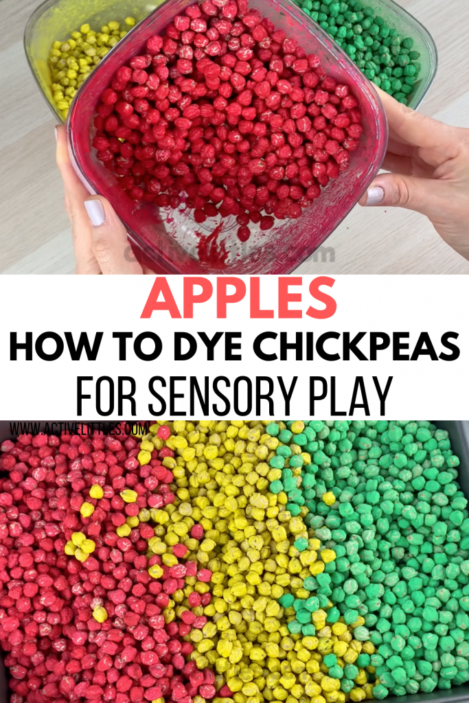 how to dye chickpeas for sensory play