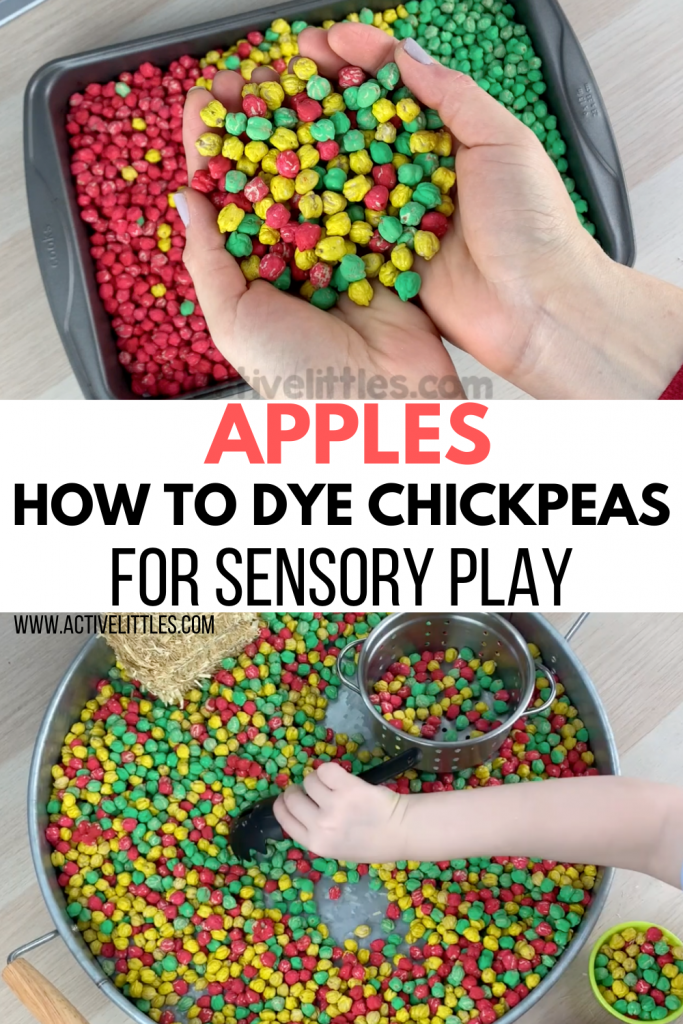 how to dye dried chickpeas for sensory play