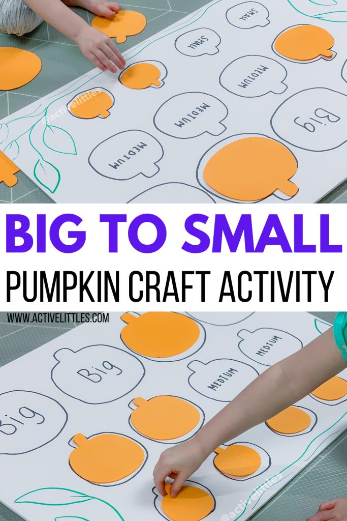big to small pumpkin craft kids activity