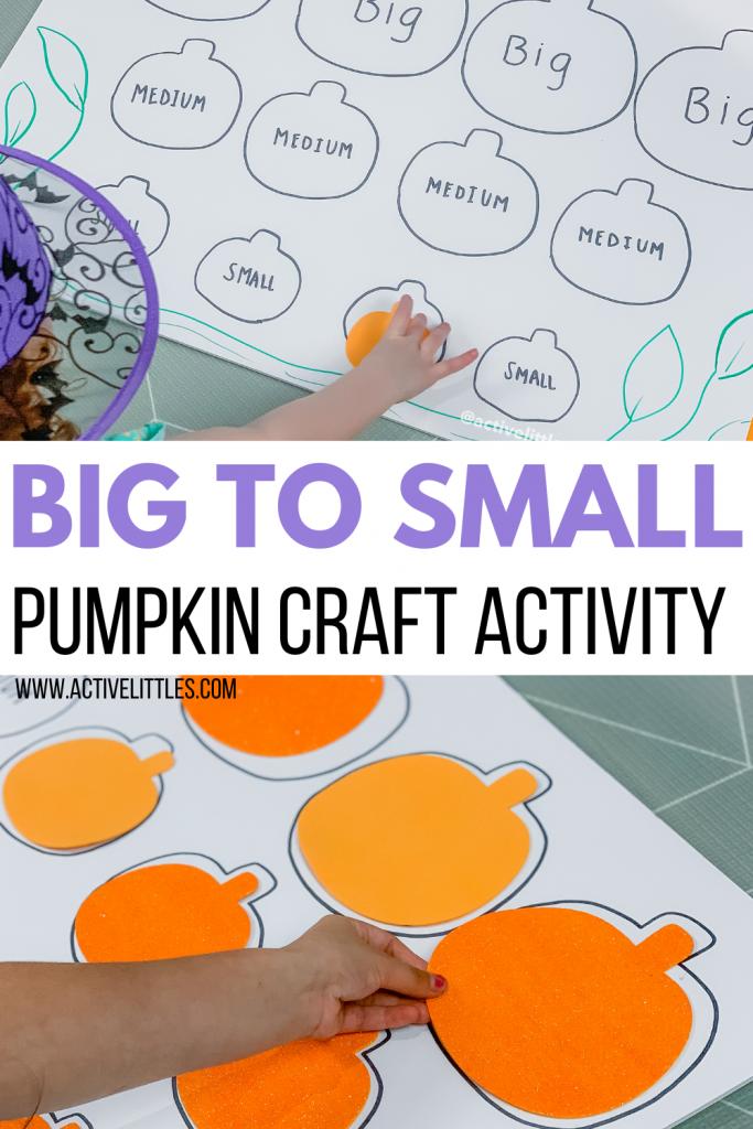 big to small pumpkin craft preschool activity