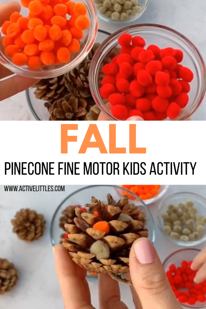 fall pinecone pom pom kids activity