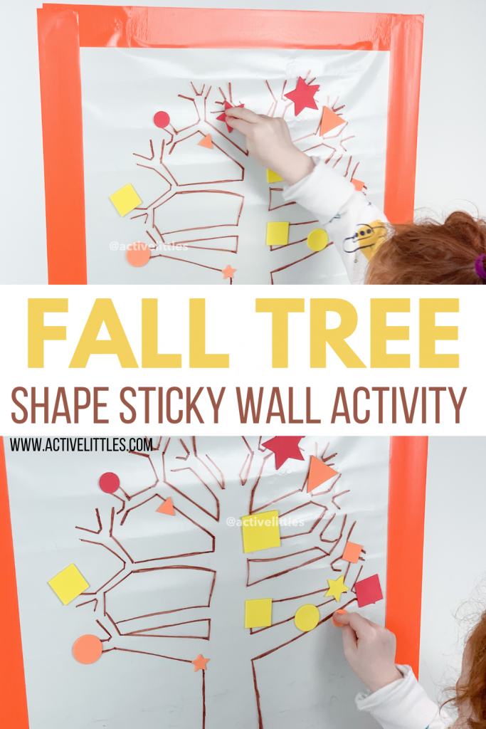 fall shape contact paper activity for toddlers and for kids