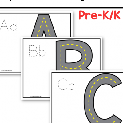 free printable uppercase road tracing printable