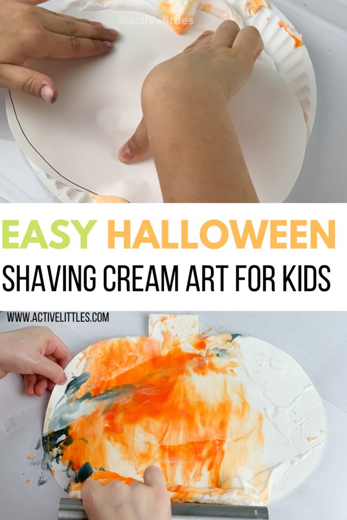 halloween shaving cream art for kids