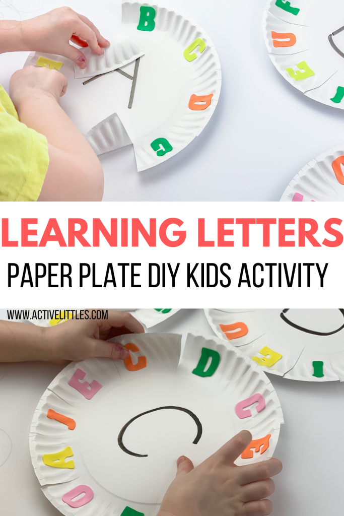 learning letters paper plate diy activity for kids