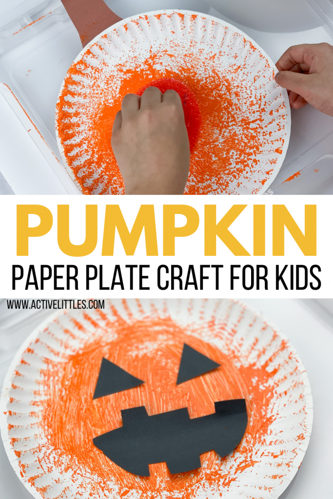 pumpkin paper plate craft for toddlers and preschool