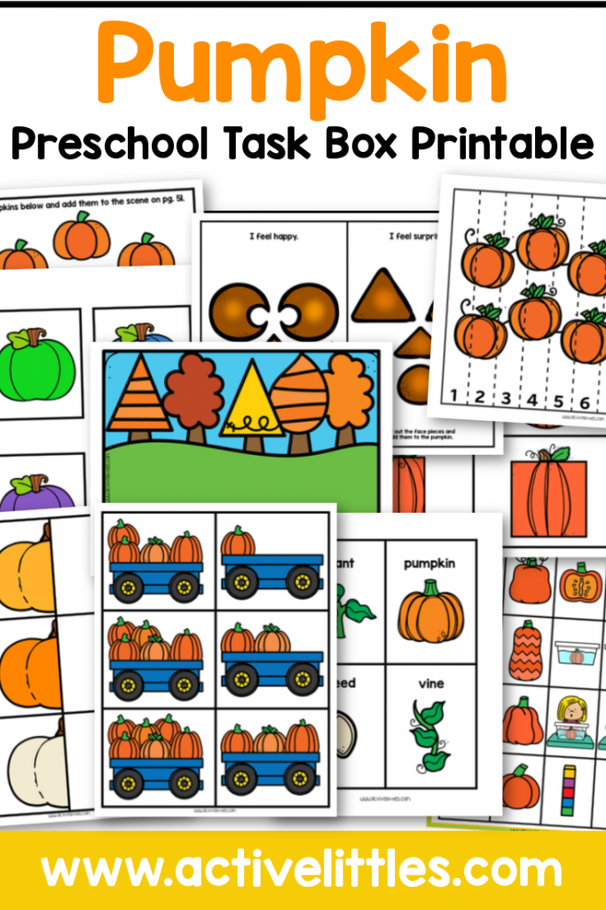 pumpkin preschool task box printable