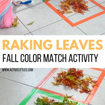 raking leaves fall color match activity