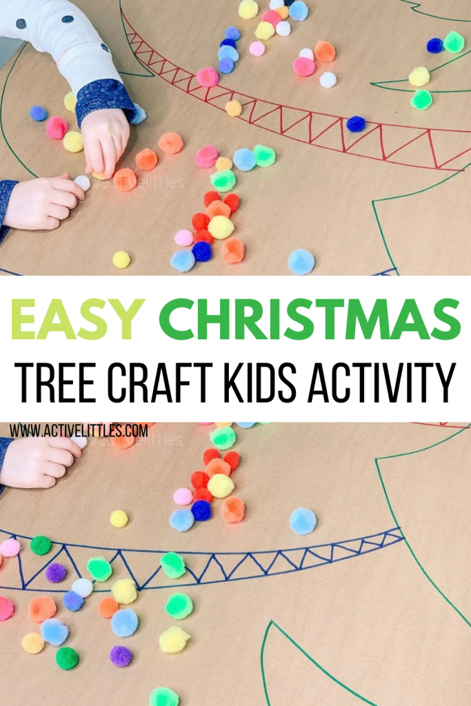 christmas tree pom pom activity for kids