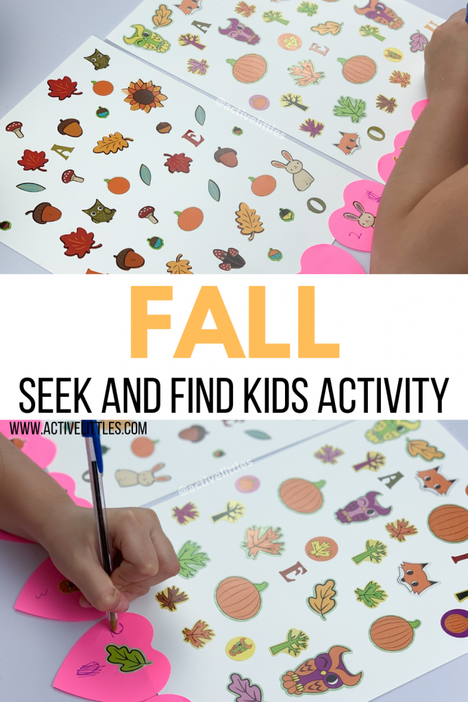 fall seek and find sticker activity
