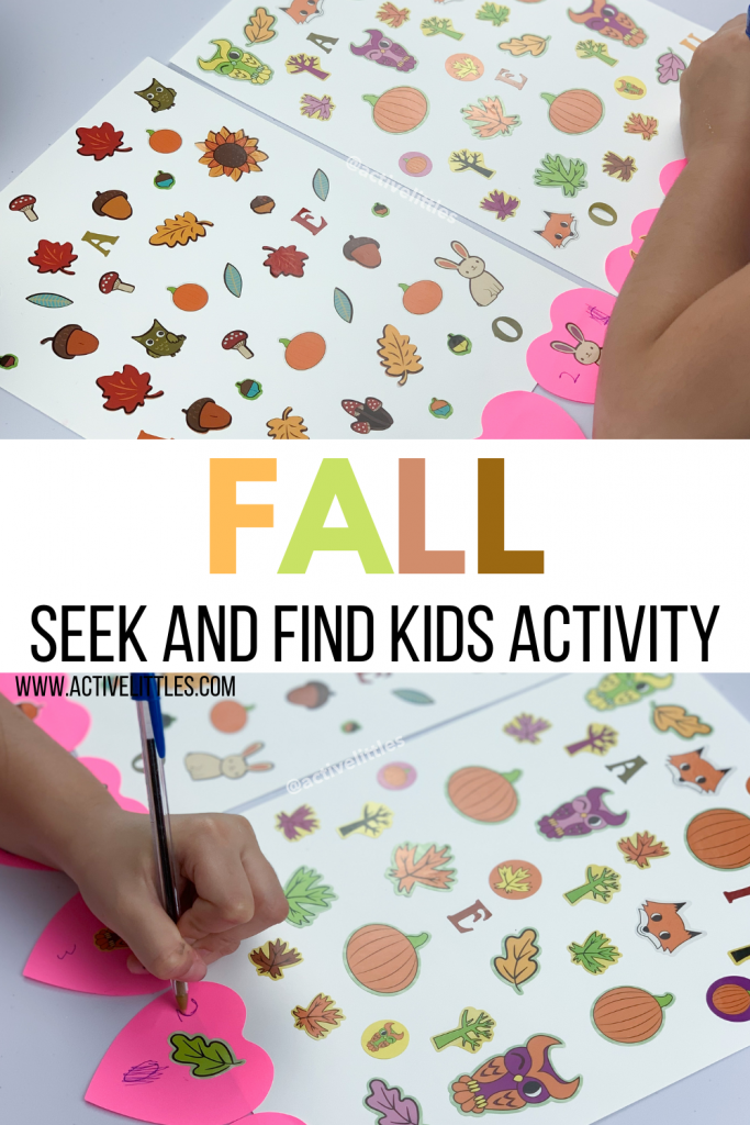 fall seek and find sticker activity for kids