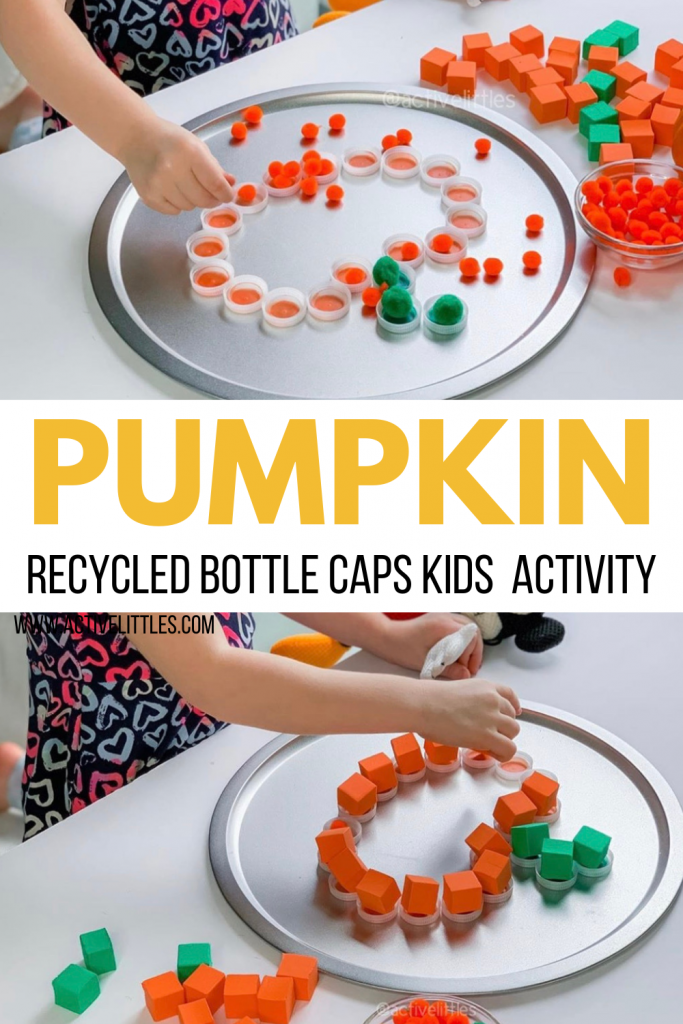 pumpkin recycled bottle caps activity for kids