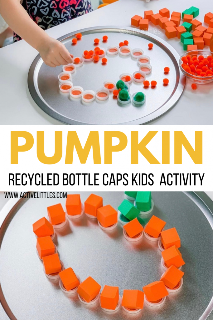 pumpkin recycled bottle caps for kids activity
