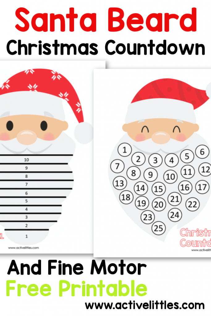 santa beard christmas countdown free printable