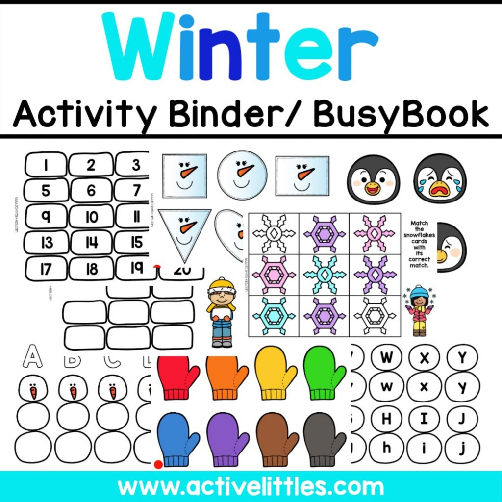 Winter Preschool Activity Binder - Active Littles Learning Folder
