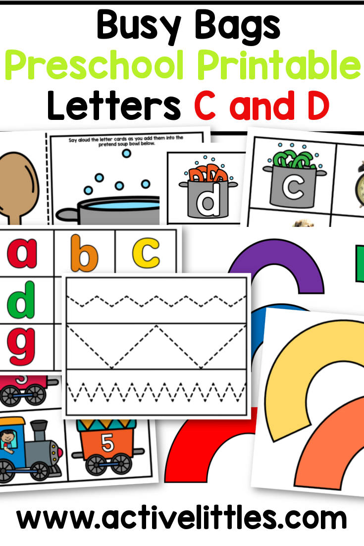 busy bag preschool printable literacy and math pack