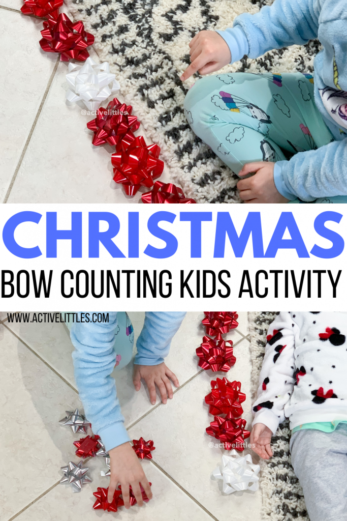 christmas bow counting activity for kids