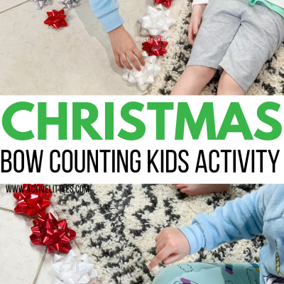 christmas bow counting activity for toddlers and preschool