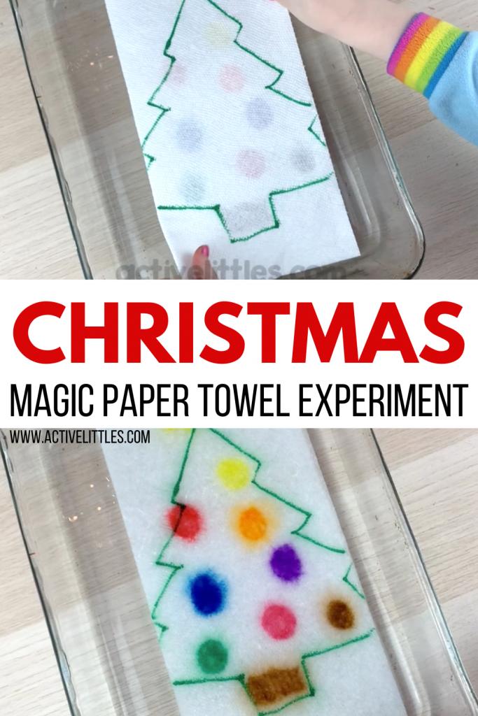 christmas magic paper towel experiment