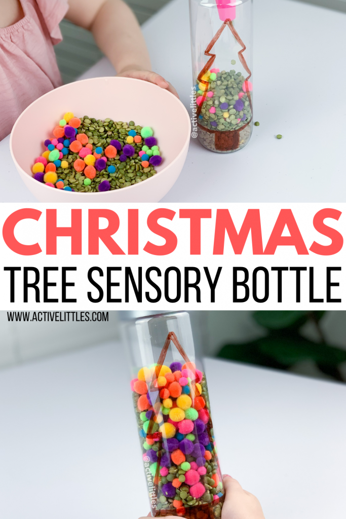 christmas tree sensory bottle scoop and pour kids activity