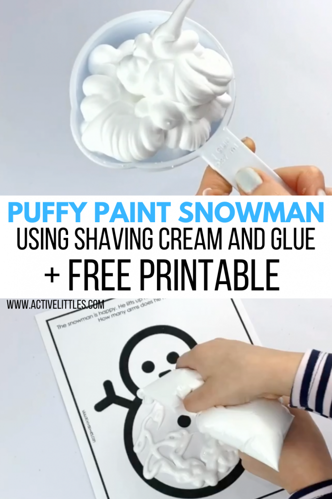 diy snowman puffy paint and shaving cream and glue activity