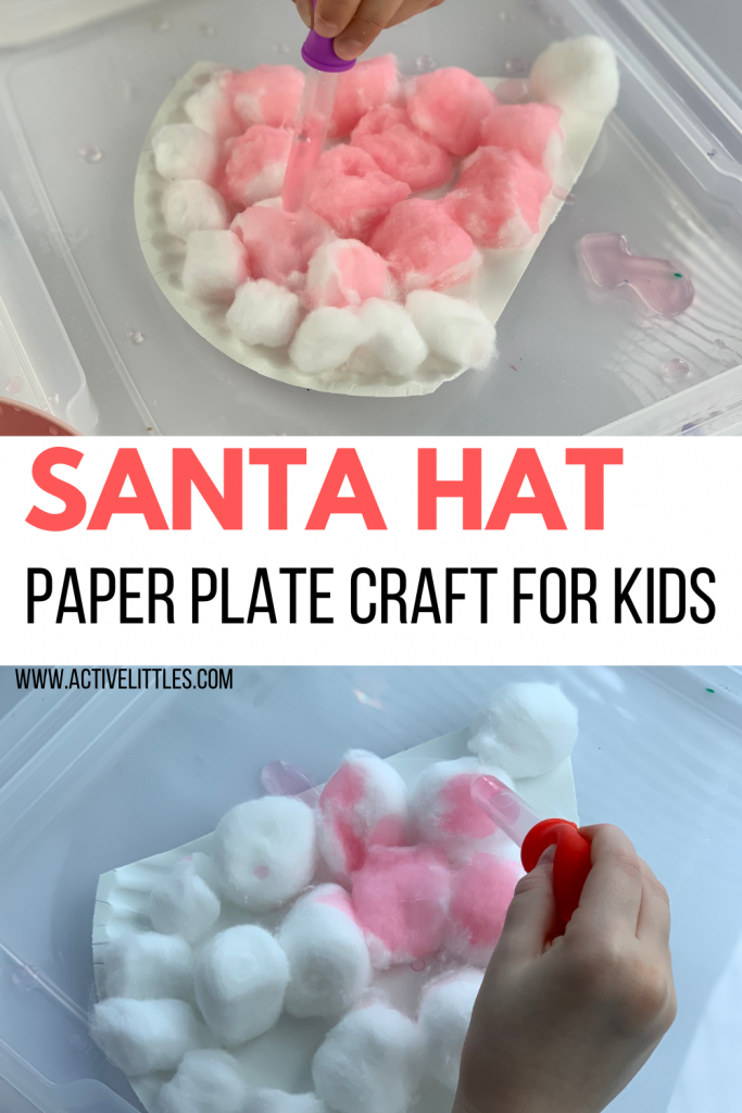 easy santa hat cotton ball crafts for kids