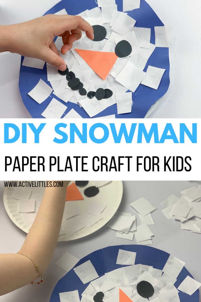 easy snowman paper plate craft for kids