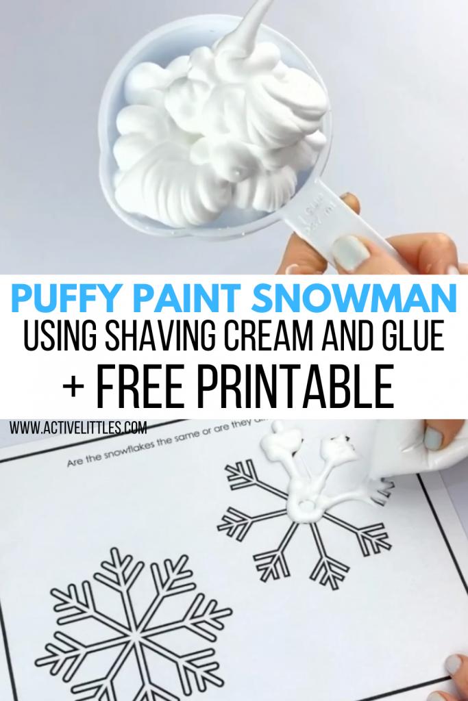 puffy paint snowman using shaving cream and glue activity
