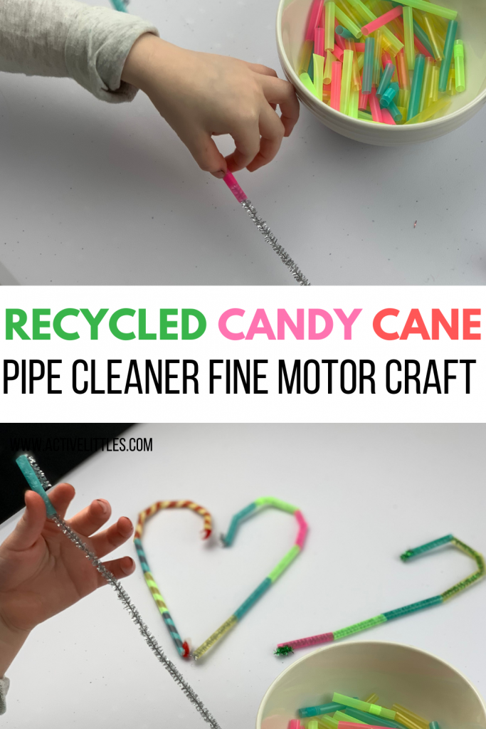 recycled candy cane pipe cleaner fine motor activity