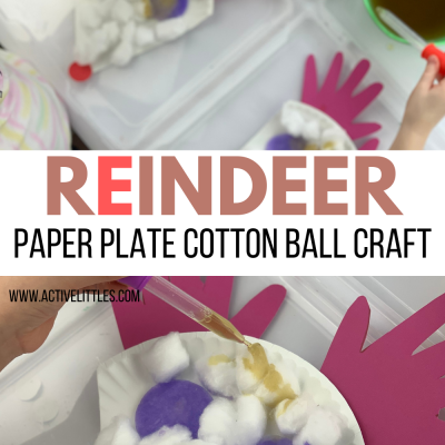 reindeer paper plate cotton ball craft